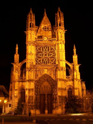 Vernon Notre Dame Church by night
